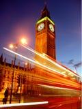 De Bus van Londen bij nacht royalty-vrije stock foto's