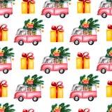 De bus van Toy Model van waterverfkerstmis laadde met snoepjes, de boom van dozenkerstmis, ballen Naadloos patroon op witte achte royalty-vrije illustratie