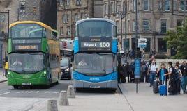 De busdienst 100 aan de Luchthaven van Edinburgh Royalty-vrije Stock Foto's