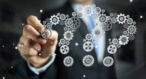 De Businessmandrawingsvraagtekens passen het 3D teruggeven aan Stock Afbeelding