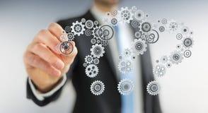 De Businessmandrawingsvraagtekens passen het 3D teruggeven aan Stock Afbeeldingen