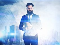 DE of businessmen and skyscraper on megalopolis Royalty Free Stock Images
