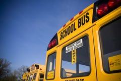 De bussen van de school van erachter stock afbeelding