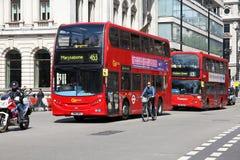 De Bussen van Londen Stock Fotografie