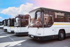 De bussen van de toerist op parkeren royalty-vrije stock afbeelding