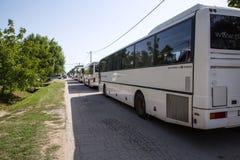 De bussen wachten om de aankomende Vluchtelingen in Tovarni verder te vervoeren royalty-vrije stock fotografie