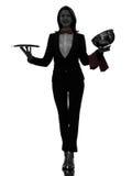 De butler van de vrouwenkelner het openen het silhouet van de cateringskoepel Royalty-vrije Stock Foto