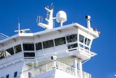De cabine van de kapitein op een schip stock afbeeldingen