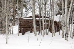 De Cabine van het spook in Sneeuw Royalty-vrije Stock Foto