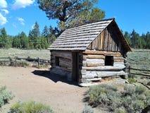 De Cabine van de mijnwerker, de 'Pygmy Cabine', Holcomb-Vallei, Grote Beer, CA royalty-vrije stock afbeeldingen