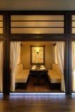 De cabinebinnenland van het restaurant stock fotografie