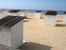 De cabines van het strand in Oostende stock fotografie