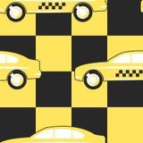 De Cabinesymbool van de patroontaxi op Geel - Zwarte Stock Foto