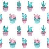 De Cactus Vastgestelde groenachtig blauwe, roze en violette kleuren van het waterverfpatroon stock illustratie