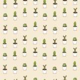 De cactussen overhandigen getrokken naadloos herhalen patroon Stock Afbeelding