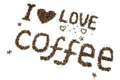 ` De café d'amour du ` I de lettrage fait de grains de café rôtis Image stock