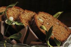 De cake & de maretak van Kerstmis Royalty-vrije Stock Fotografie