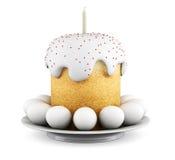 De cake en de eieren van Pasen op een schotel 3d geef image Royalty-vrije Stock Afbeelding
