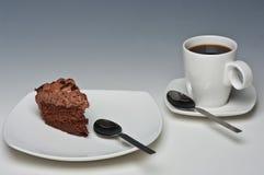 De Cake en de Koffie van de chocolade Royalty-vrije Stock Afbeelding