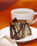 De cake en de koffie van de chocolade stock fotografie