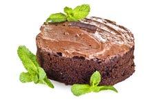 De cake en de munt van de chocolade stock afbeeldingen