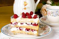 De cake en de thee van de framboos Stock Fotografie
