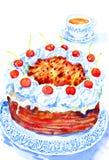 De Cake en de Thee van de waterverfillustratie Stock Fotografie