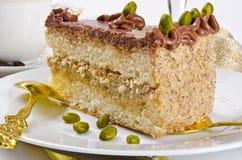 De cake, Kaffe en de champagne van Halva Stock Foto's