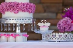 De cake knalt en cupcakes Royalty-vrije Stock Afbeeldingen