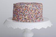 De cake met bestrooit Stock Foto