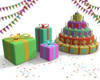 De cake stelt vlaggen en confettien voor Stock Afbeelding