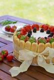 De cake van aardbeicharlotte Stock Fotografie