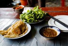 De cake van Banhxeo Xeo - een Vietnamese smakelijke gebraden pannekoek royalty-vrije stock fotografie