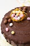 De cake van chocoladepasen met het kleine eieren bedekken Royalty-vrije Stock Afbeeldingen