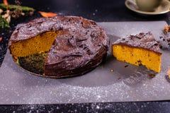 De cake van de chocoladepompoen Royalty-vrije Stock Afbeeldingen