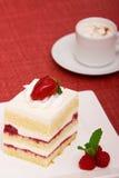 De cake van de aardbei met cappuccino's Stock Afbeelding
