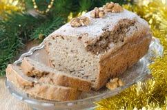 De cake van de Banaan van Kerstmis met okkernoot Stock Fotografie