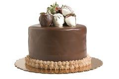 De Cake van de chocolade met Aardbeien royalty-vrije stock afbeelding