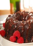 De cake van de chocolade met champagne Stock Foto's
