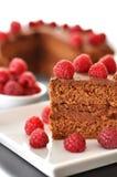 De Cake van de chocolade met Frambozen Royalty-vrije Stock Foto's