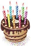 De cake van de chocolade met kaarsen Stock Afbeelding