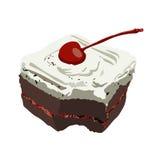 De cake van de chocolade met Kers Isoleer illustratie op achtergrond stock illustratie