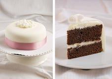 De cake van de chocolade met mascarponeroom en marsepein Stock Afbeeldingen