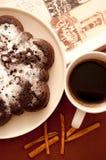 De cake van de chocolade met suikerglazuursuiker Royalty-vrije Stock Afbeelding