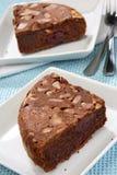 De cake van de chocolade met zure kers Stock Foto's