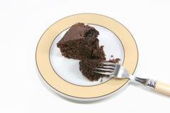 De cake van de chocolade op een plaat Royalty-vrije Stock Fotografie