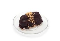 De cake van de chocolade op plaat Stock Foto