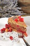 De cake van de chocolademousse met frambozen en lavendel Royalty-vrije Stock Afbeelding
