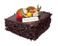De Cake van de chocoladeverjaardag Royalty-vrije Stock Afbeelding