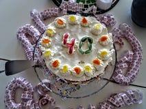 De cake van de Fourtiethverjaardag met wimpels Stock Afbeeldingen